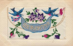Hand Sewn, 1900-10s; God Bless You, Birds & Flowers, Insert A Kiss from France