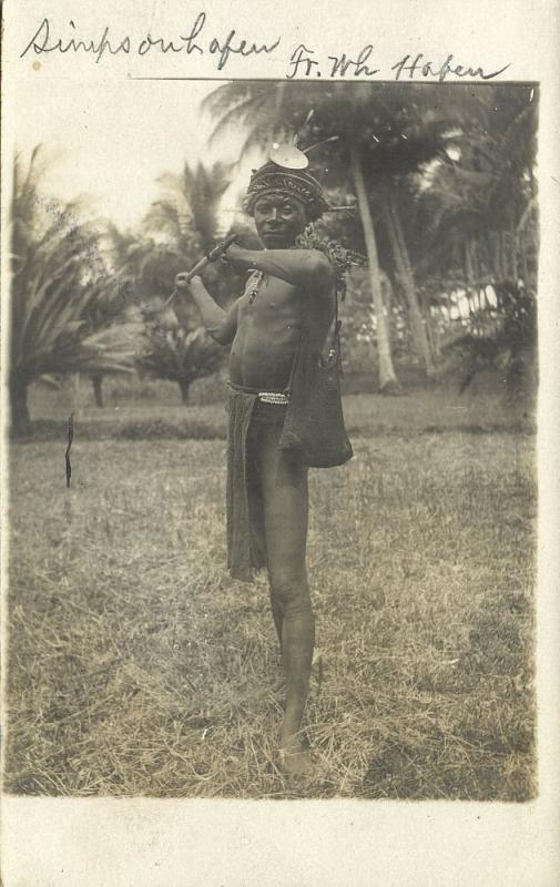 Bismarck Archipelago PNG, New Britain, RABAUL Simpsonhafen, Native Warrior, RPPC