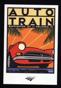Amtrak Auto Railroad Train, Art Deco, Washington DC to Orlando, FL Postcard PC