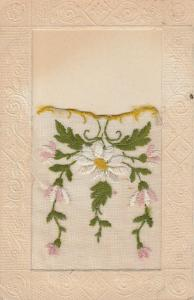 Novelty Embroidered Pocket Postcard~Place for Note~White Pink Daisies~1917 PC