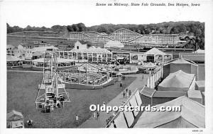 Des Moines, Iowa, IA, USA Postcard Scene on Midway, State Fair Grounds Unused