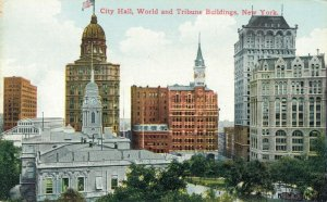 USA City Hall World and Tribune Buildings New York 03.82
