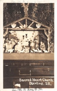 G34/ Sterling Illinois RPPC Postcard 1937 Sacred Heart Church Krug Nativity