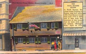Paul Revere House, Boston, Massachusetts, early linen postcard, unused
