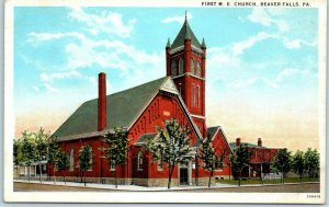 Beaver Falls, Pennsylvania Postcard FIRST M.E. CHURCH Building Curteich 1930s