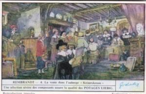 Liebig Trade Card S1481 Rembrandt II No 4 La vente dans l'auberge Keizerskroon