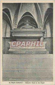 Postcard Old St Paul's Cathedral Nelson's Tomb in the Crypt