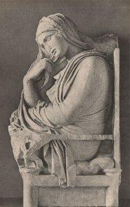 Vintage Postcard 1930's The Metropolitan Museum of Art Marble Grave Seated Woman