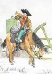 Post Office Royal Mail Postman Bellman Horse Mounted Postboy Uniform Postcard