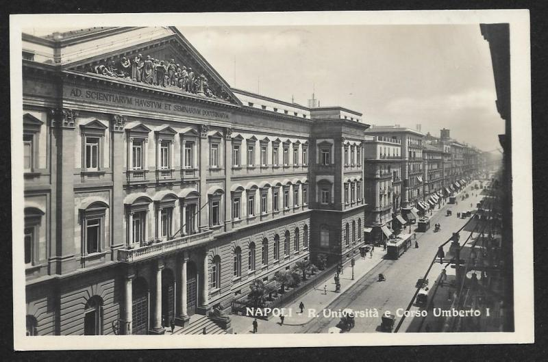 University & Umberto I Street Naples RPPC ITALY Unused c1920s