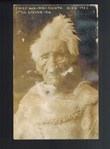 Mint RPPC Real Picture Postcard Native American Indian Chief Wa Ha Gunta 135 YO