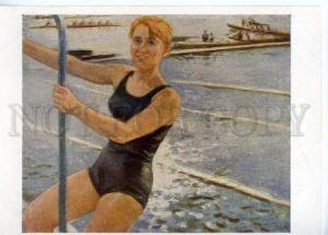 154678 1963 SWIMMER & ROWING boats by LUPPOV OLD postcard