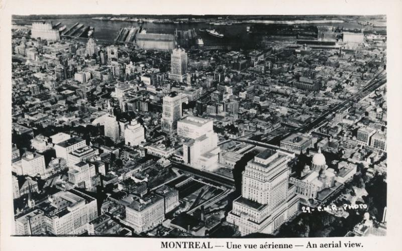 RPPC Aerial View of Montreal QC, Quebec, Canada