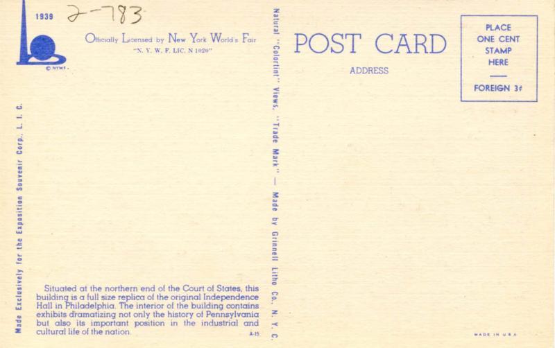 NY - New York World's Fair, 1939. Pennsylvania Building