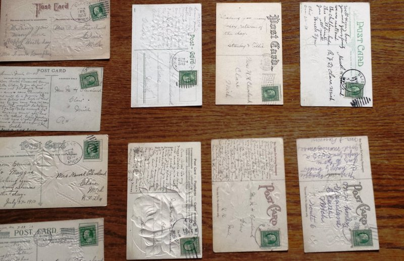 18 Post cards from 1900 to 1915 Many Embossed