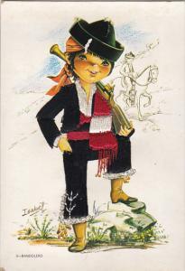 Spain Bandolero Boy In Local Costume Embroidered