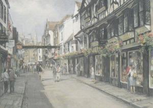 Stonegate Bookshop Pub Flags Flying York Giant Painting Postcard