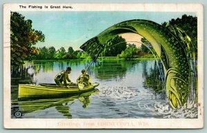 Fishing is Great in Cornucopia Wisconain~Exaggerated Freak Fish on Hook~1937