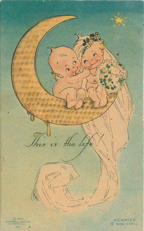 c1910 Kewpie Paper Moon Lovers Rose O'Neill Klever Card Cut-out Campbell Art