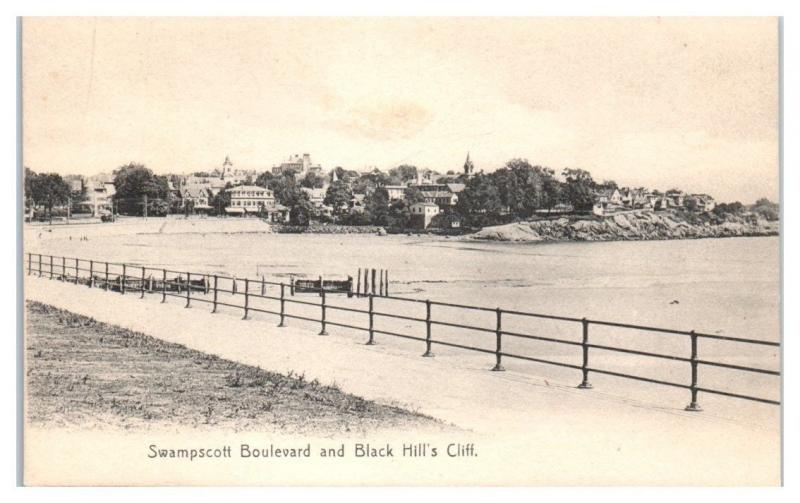 Early 1900s Swampscott Boulevard and Black Hill's Cliff, MA Postcard