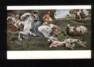 050262 Hunt HORSE Hounds by Angelo JANK Art NOUVEAU