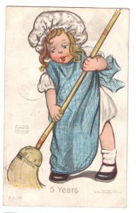 Katharine Gassaway Girl Broom 5 Years 1906 Rotograph PC