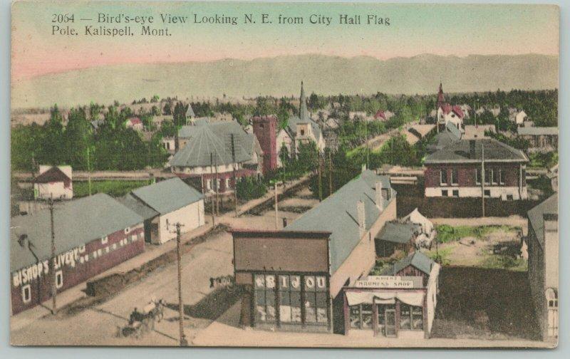 Kalispell Montana~Birdseye~Bijou Theatre~Bishop's Livery~Harness Shop~1911