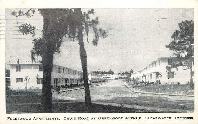 1951 CLEARWATER, FLORIDA Fleetwood Apartments postcard 1777