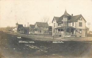 Merrill IA Homes on Dirt Street~Old United Methodist Epsicopal Church RPPC 1907
