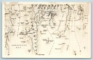 Postcard ME RPPC Map Boothbay Harbor Sheepscot Bay Southport Named Islands S5