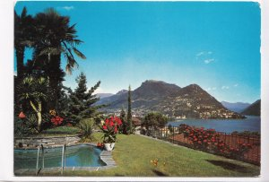 LUGANO, Partial view with the Mount Bre, Switzerland, 1971 used Postcard