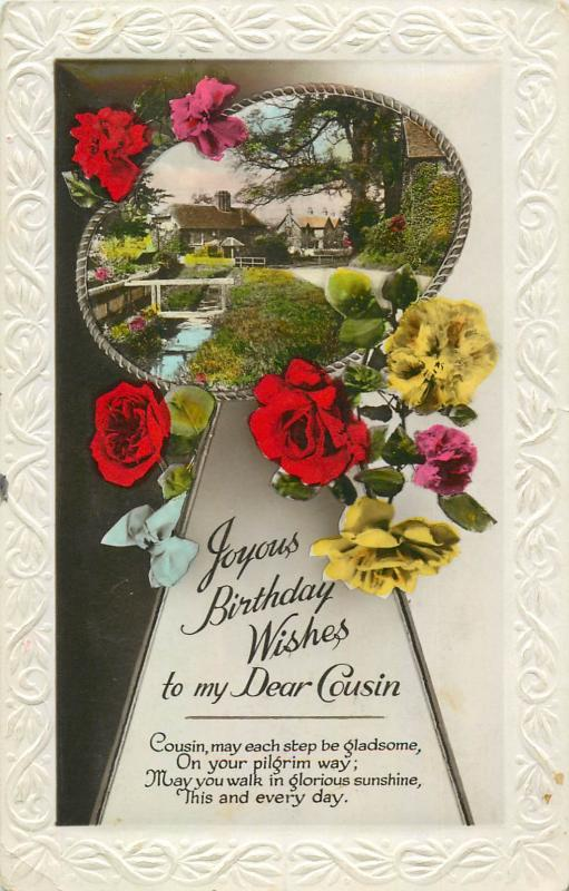 Floral Embossed Frame Greetings Postcard Cousin Birthday Wishes Flowers Fantasy