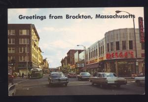 BROCKTON MASSACHUSETTS DOWNTOWN STREET SCENE POSTCARD 1960's