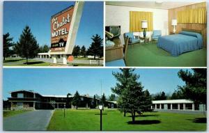 Wisconsin Rapids Postcard CHALET MOTEL Swiss Cottage Restaurant Roadside c1960s
