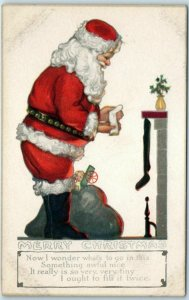 Vintage Christmas Postcard SANTA CLAUS in Red Suit, Hanging Stockings c1910s