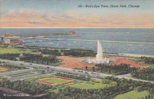 Illinois Chicago Grant Park Birds Eye View Curteich