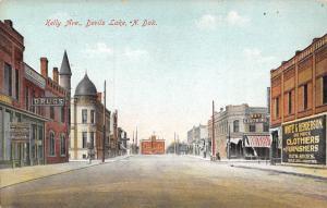Devils Lake North Dakota~Kelly Avenue~White & henderson Clothiers~Drugs~1908 PC