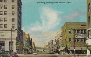Broadway, Looking South, AURORA, Illinois, PU-1947