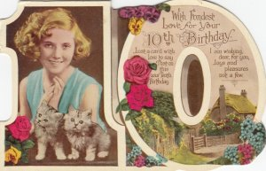 BIRTHDAY, 00-10s; Greetings, No. 10, Portrait of girl with kittens