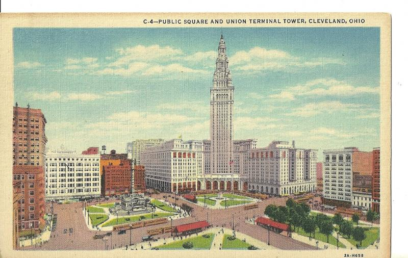 1940's Public Square And Union Terminal Tower, Cleveland, Ohio