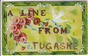 Canada Saskatchewan: Line from Tugaske, Flowers Fleurs Dove Bird, Embossed 1911