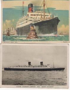 RMS Loythia Antique Ship Cunard Line Queen Elizabeth 2x Postcard s