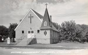 Chester IA Short, Shingle Steeple~Sunday School Sign~United Lutheran RPPC 1950s
