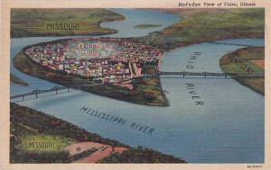 Illinois Cairo Birds Eye View Of Cairo 1945