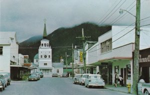Alaska Sitka Main Street Looking Toward St Michael Cathedral Founded 1799 sk5714