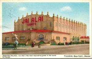TIJUANA, Baja California Mexico   FRONTON PALACE~Jai Alai Games  1953 Postcard