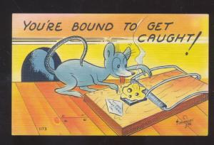 BOUND TO GET CAUGHT MOSE TRAP SIGNED TIMMONS VINTAGE COMIC POSTCARD
