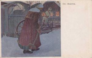 Woman carrying spinning wheel, Do Prastek , 00-10s