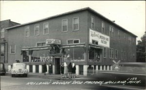 Holland MI Wooden Shoe Factory Real Photo Postcard CAR IN FRONT