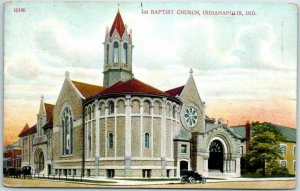 Indianapolis, Indiana Postcard 1ST BAPTIST CHURCH Building Street View 1914